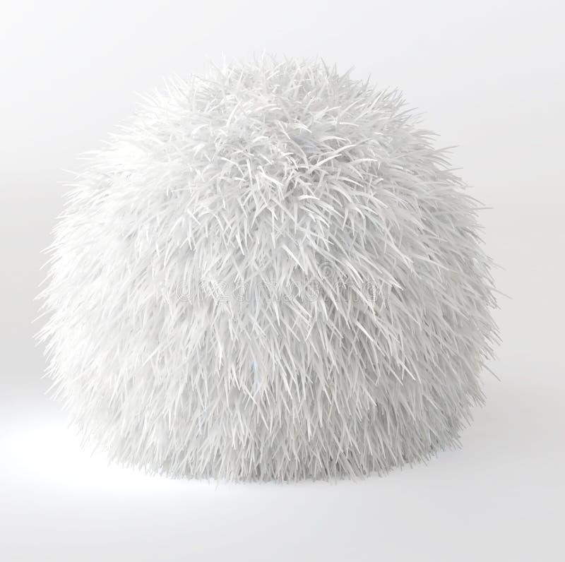 3d rendono della sfera bianca della pelliccia royalty illustrazione gratis