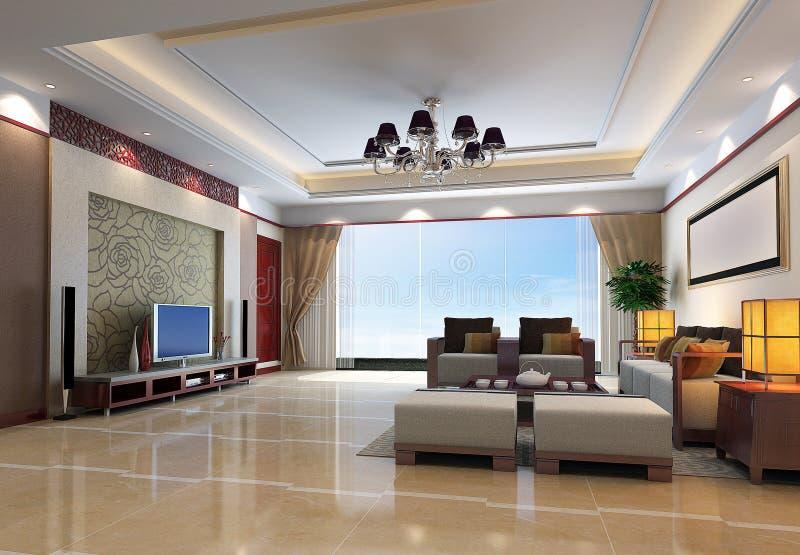 3d rendono l'interiore moderno del salone 1 illustrazione di stock