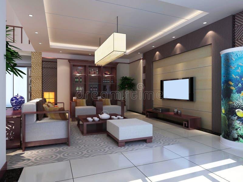3d rendono l'interiore moderno del salone 1 illustrazione vettoriale