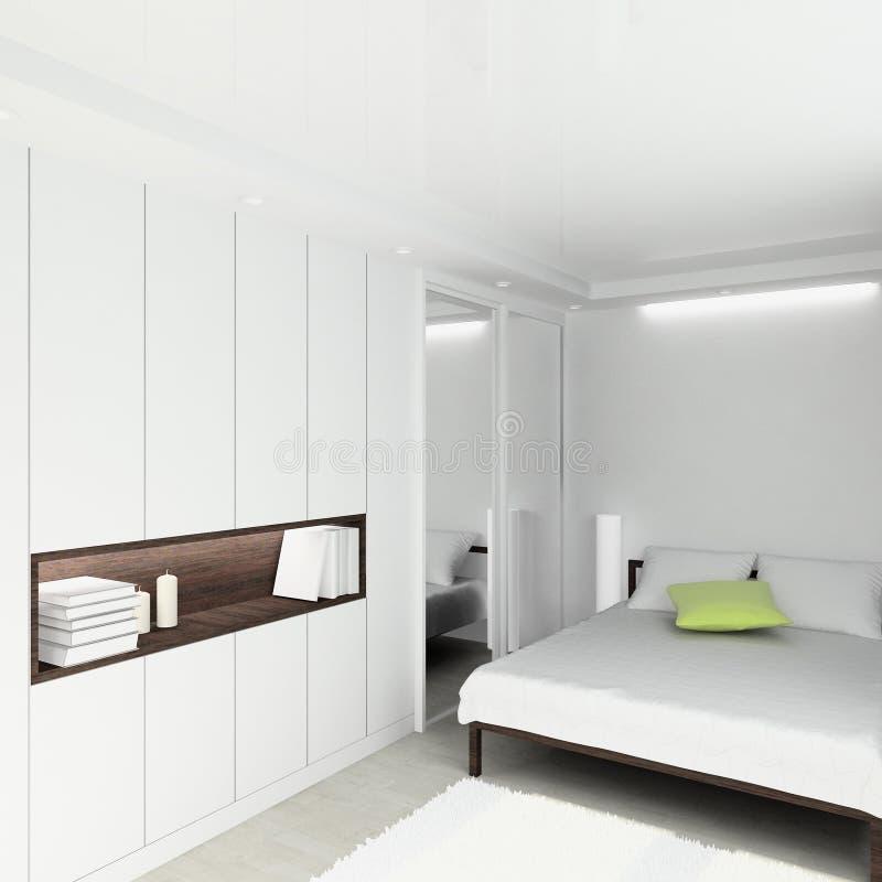 3D rendono l'interiore moderno della camera da letto immagini stock