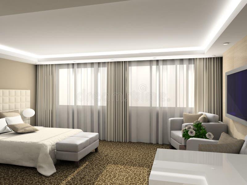 3D rendono l'interiore moderno della camera da letto illustrazione di stock