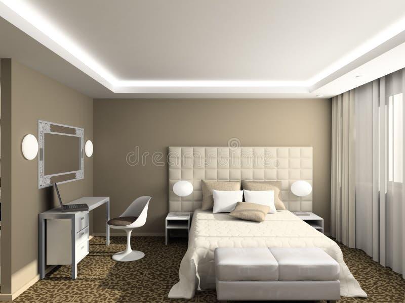 3D rendono l'interiore moderno della camera da letto royalty illustrazione gratis