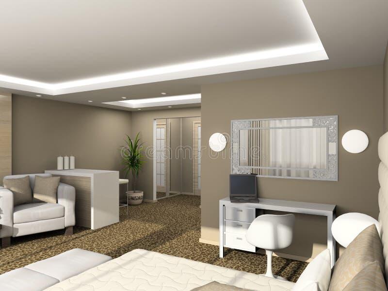 3D rendono l'interiore moderno della camera da letto illustrazione vettoriale