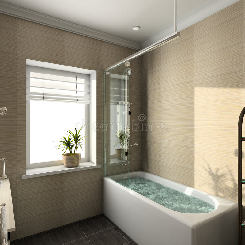 3D rendono l'interiore moderno della stanza da bagno fotografie stock libere da diritti