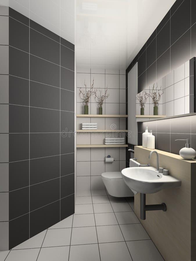 3D rendono l'interiore moderno della toletta illustrazione vettoriale