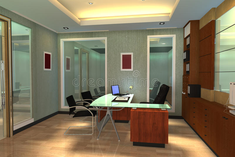 3d rendono l'interiore moderno dello spazio di ufficio fotografia stock