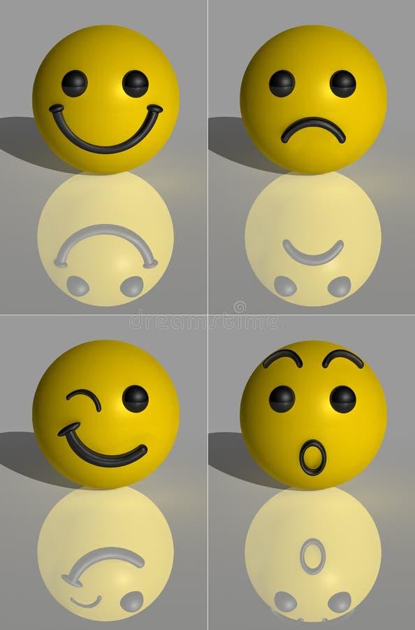 3D rendono Smilies illustrazione di stock