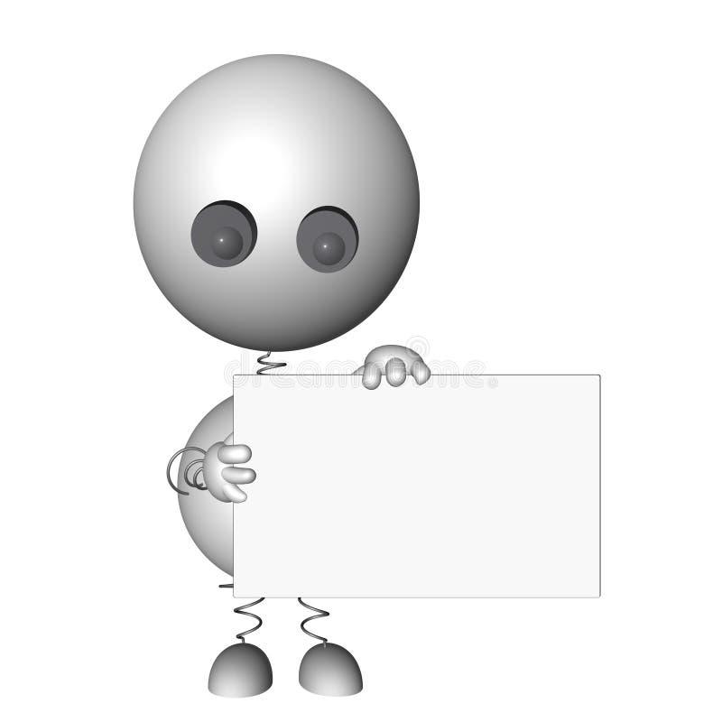 3d a rendu le caractère retenant un panneau de message illustration libre de droits