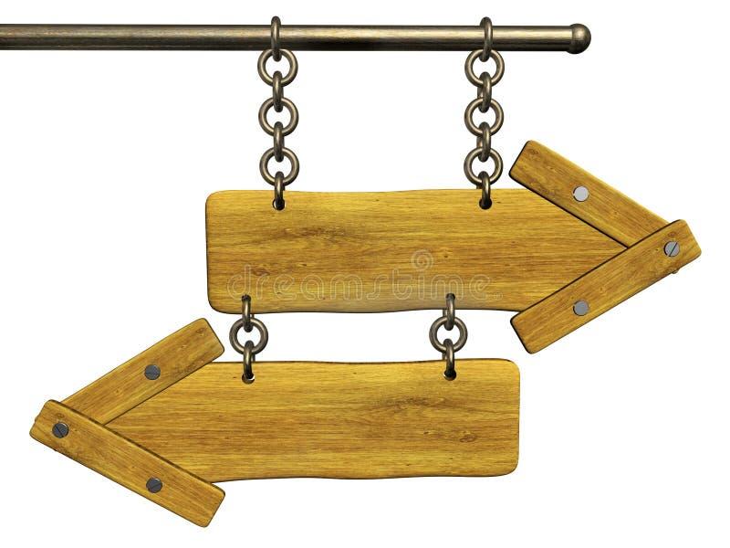 3d retro wooden arrows vector illustration