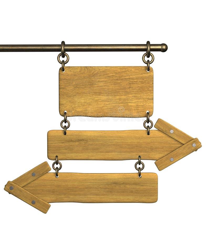 3d retro wooden arrows stock illustration