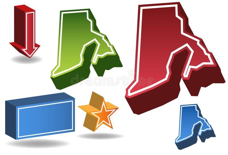 3D Rhode Island vector illustratie