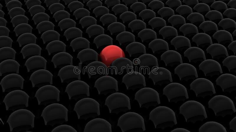 3d rinden de bolas negras y de un rojo stock de ilustración