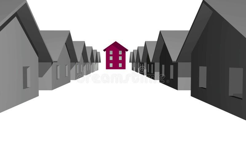 3D rinden de casas residenciales modernas ilustración del vector