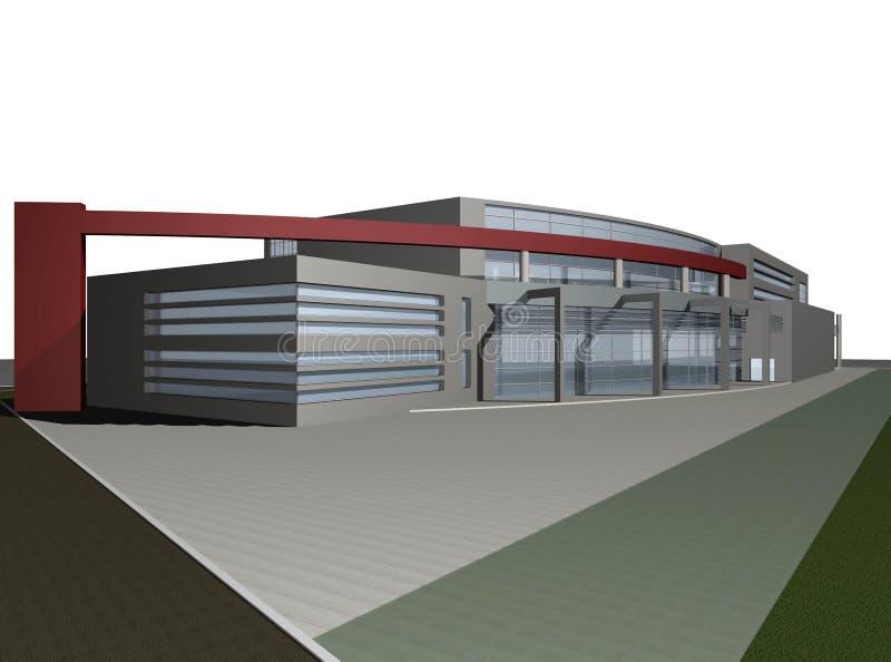 3d rinden de centro de negocios moderno ilustración del vector