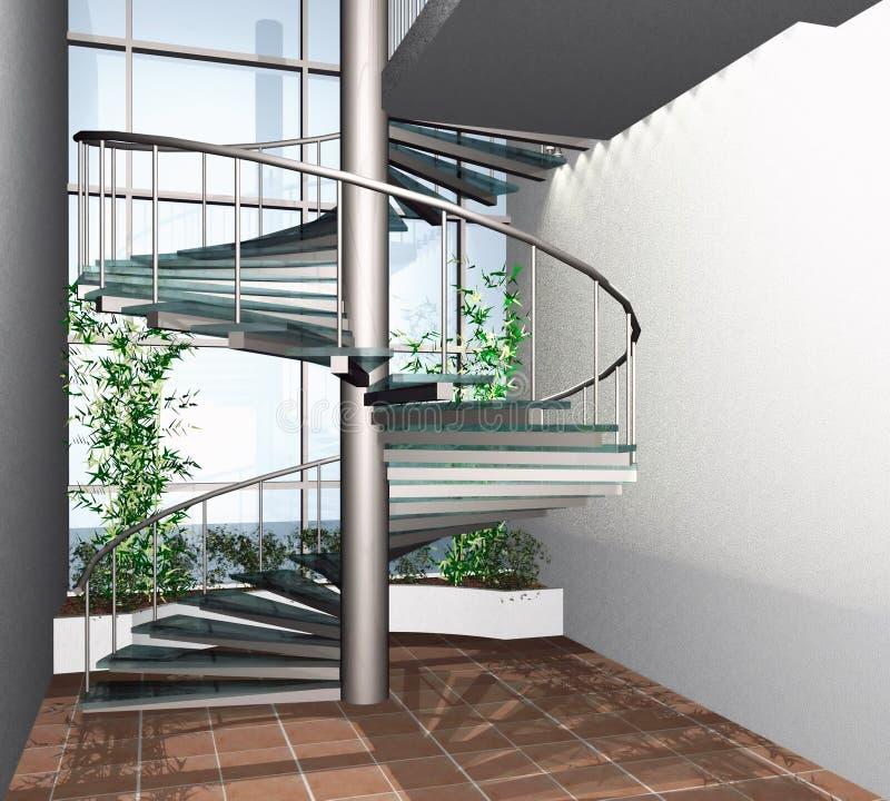 3D rinden de interior moderno de la construcción de viviendas ilustración del vector