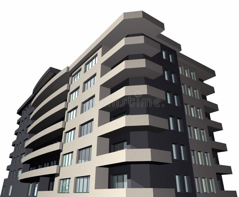 3D rinden de la construcción de viviendas moderna ilustración del vector