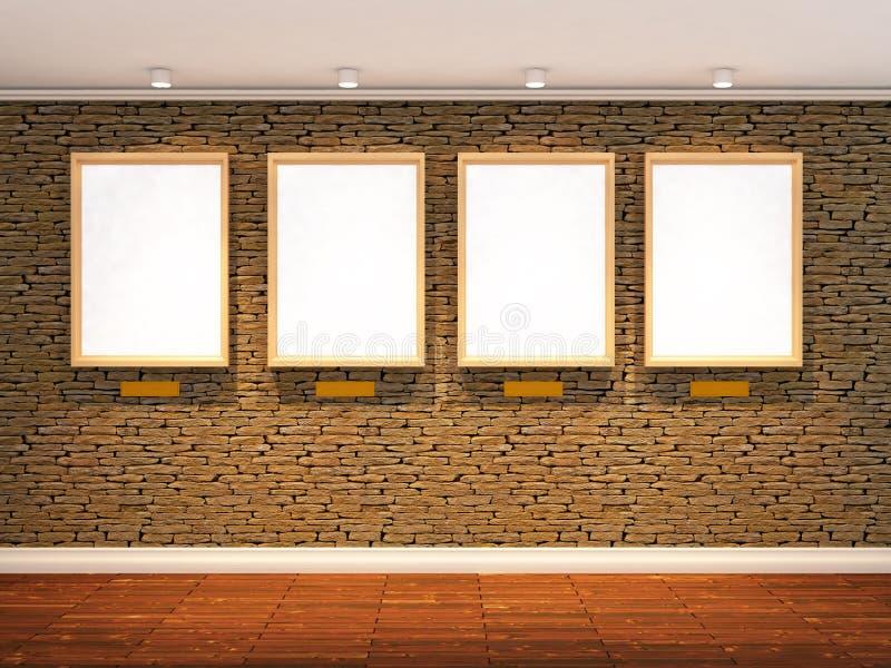 3d rinden de la pared de piedra ilustración del vector