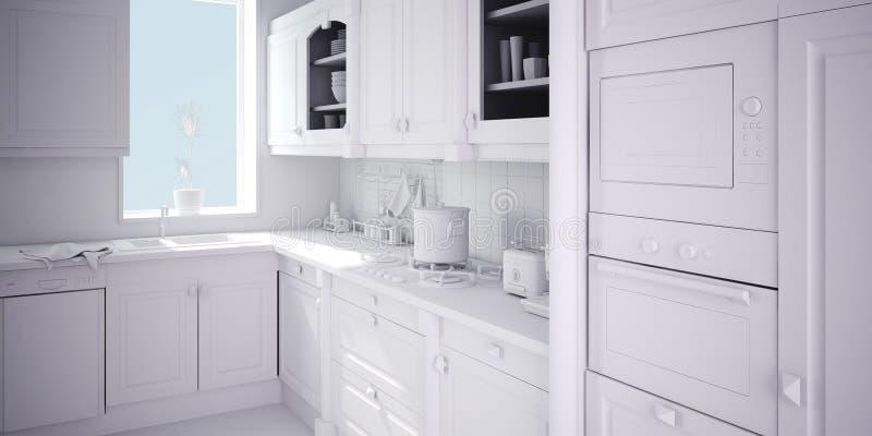 3d rinden de una cocina moderna stock de ilustración