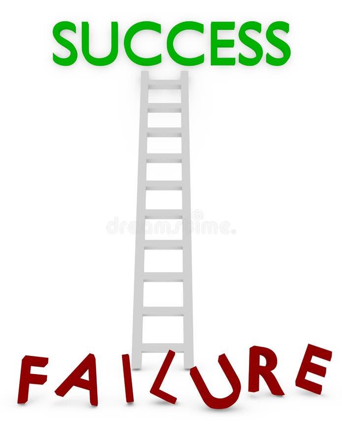 3d rinden de una escalera al éxito o al incidente stock de ilustración