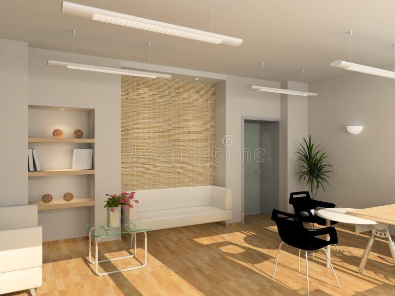 3D rinden el interior moderno de la oficina stock de ilustración