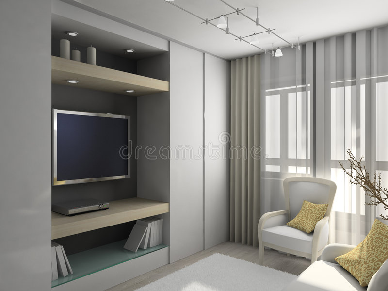3D rinden el interior moderno de la sala de estar libre illustration