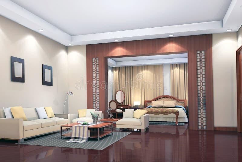 3d rinden el interior moderno de la sala de estar, dormitorio stock de ilustración