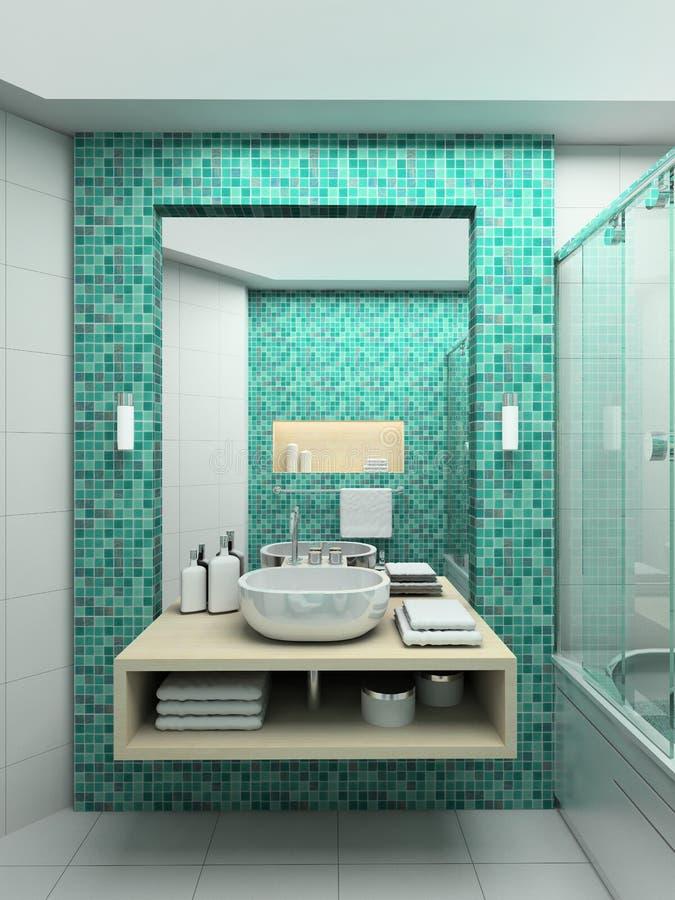 3D rinden el interior moderno del cuarto de baño ilustración del vector