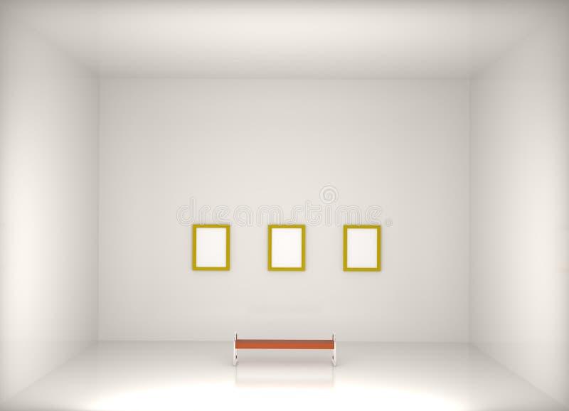 3d rinden la galería de arte moderno ilustración del vector