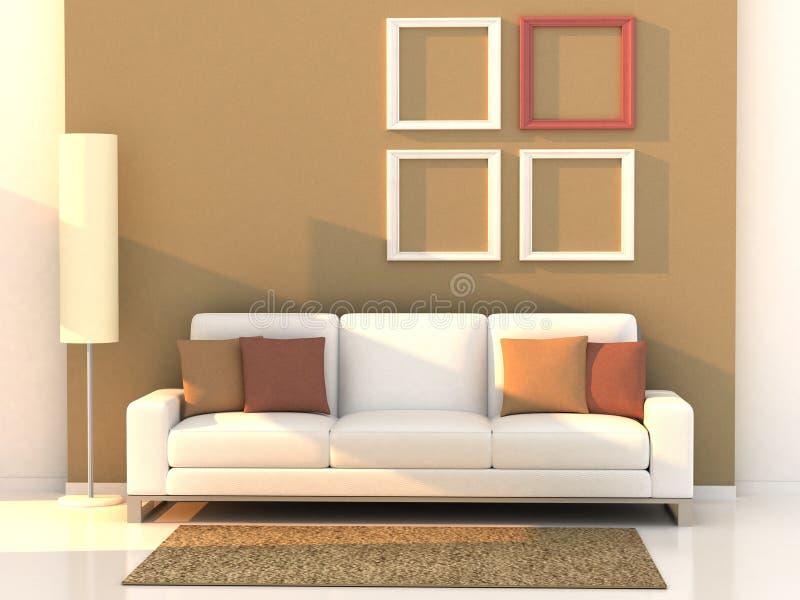 3d rinden la sala de estar, sitio moderno stock de ilustración