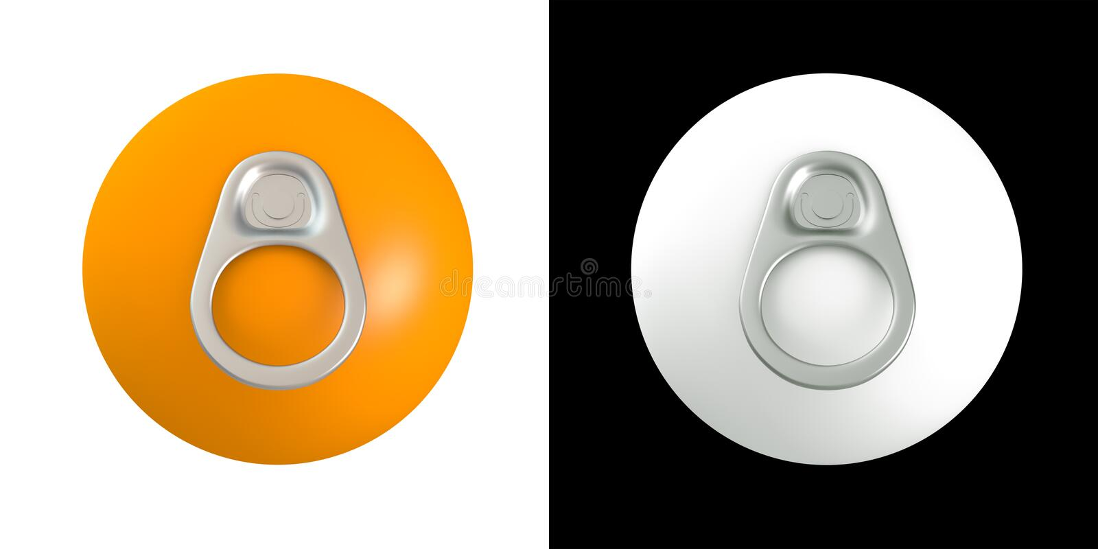 Download 3D Ring Pull Of Cans On Orange Fruit Stock Illustration - Image: 22952436