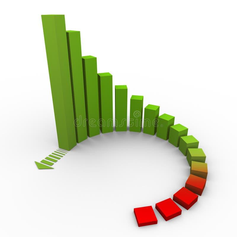 3d rising chart vector illustration