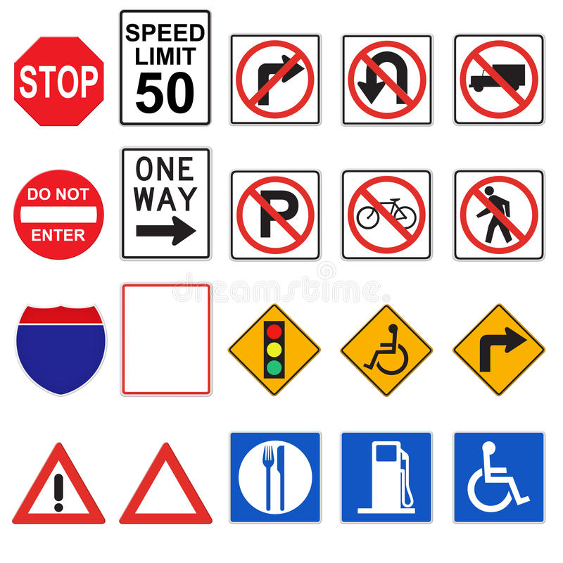 3D Road Signs (Front Viewed) royalty free illustration