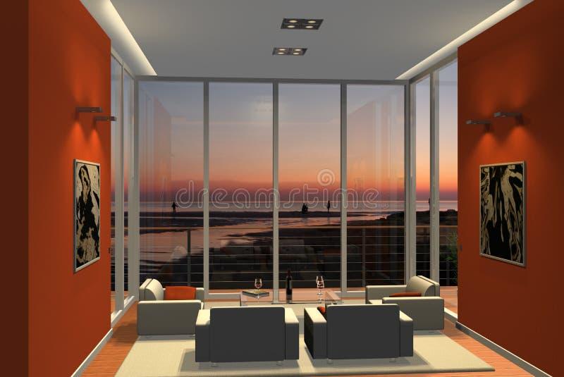 3D robijnrode woonkamer vector illustratie