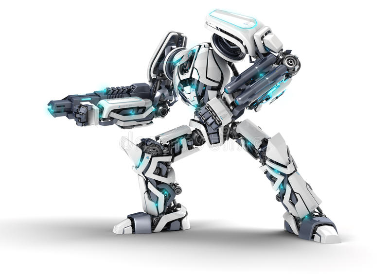 3d robot. White 3d robot with weapon on white background