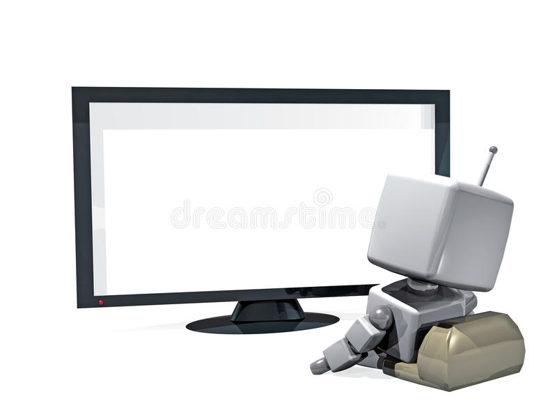 3D robot alone in front of the TV royalty free stock images