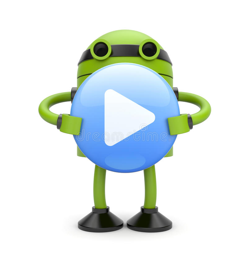 3d Robot with play button stock illustration