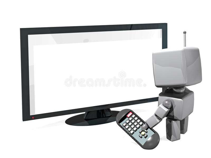 3D robot with remote contol and TV royalty free stock photo