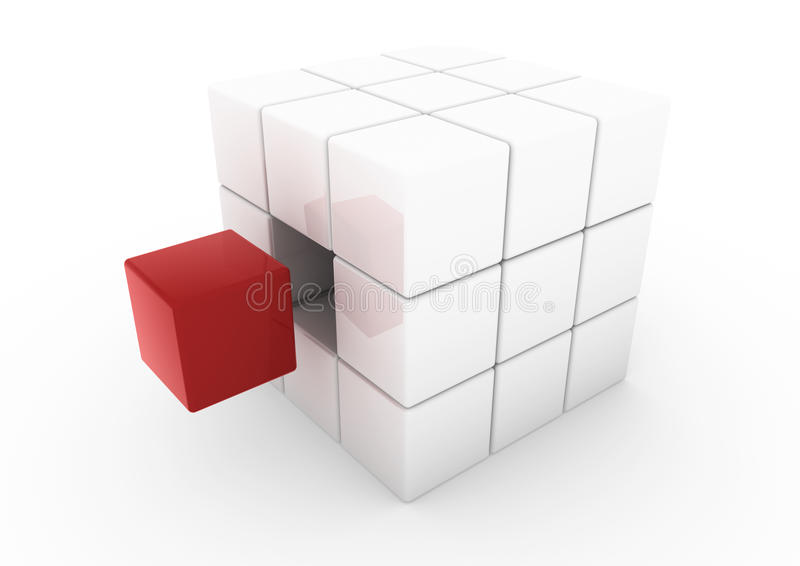 3d rode bedrijfskubus royalty-vrije illustratie