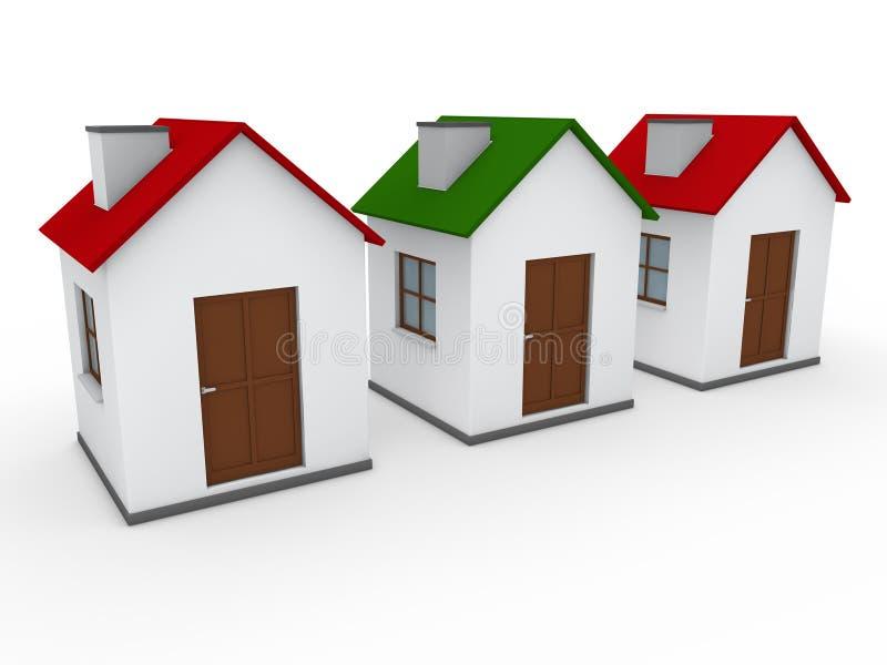 3d rode groen van het huishuis vector illustratie