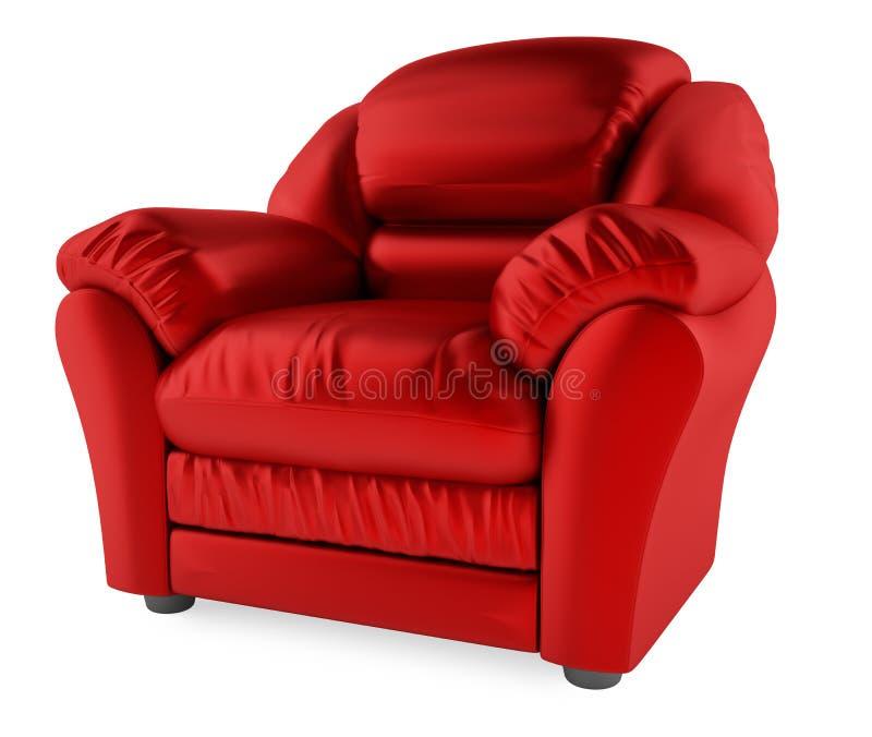 3D rode stoel op een witte achtergrond stock afbeeldingen