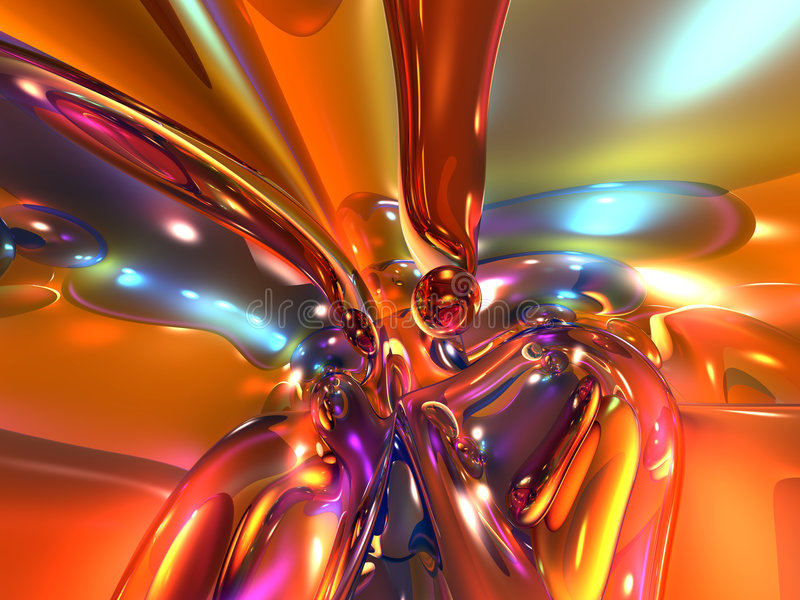 3D Rood Oranje Kleurrijk Helder Abstract Glas stock illustratie