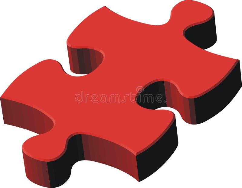 3d rood raadselstuk vector illustratie