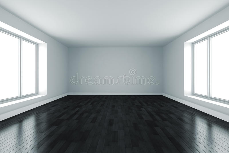 3d Room With White Walls And Black Floor Stock