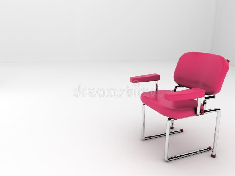 (3d) Roter Stuhl im weißen Raum stock abbildung