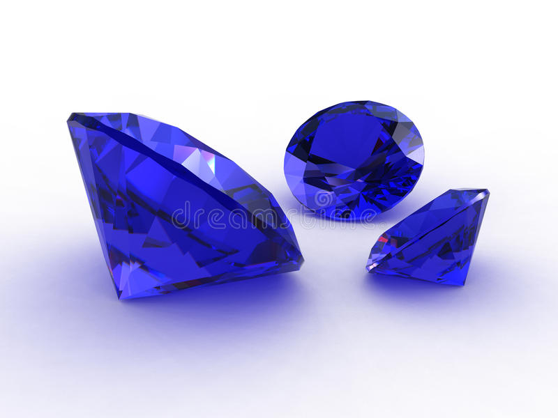 3D Round azure sapphire stones. 3D stock illustration
