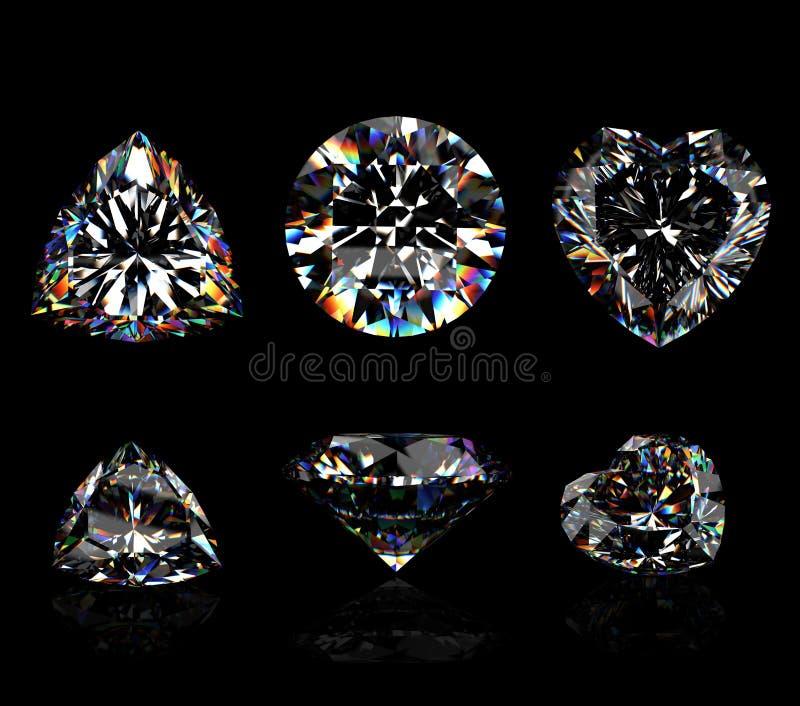 3d Round brilliant cut diamond. On black royalty free illustration