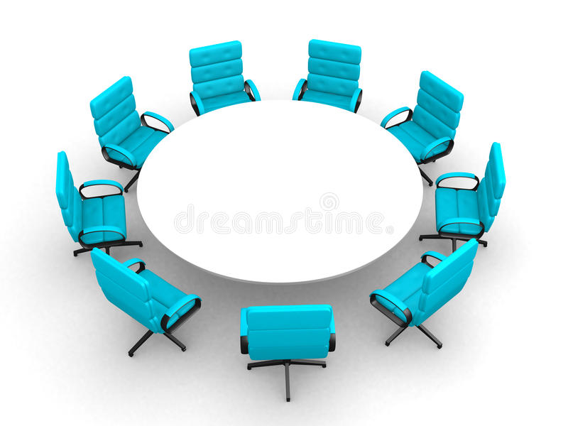 3d round conference room, isolated on white stock illustration