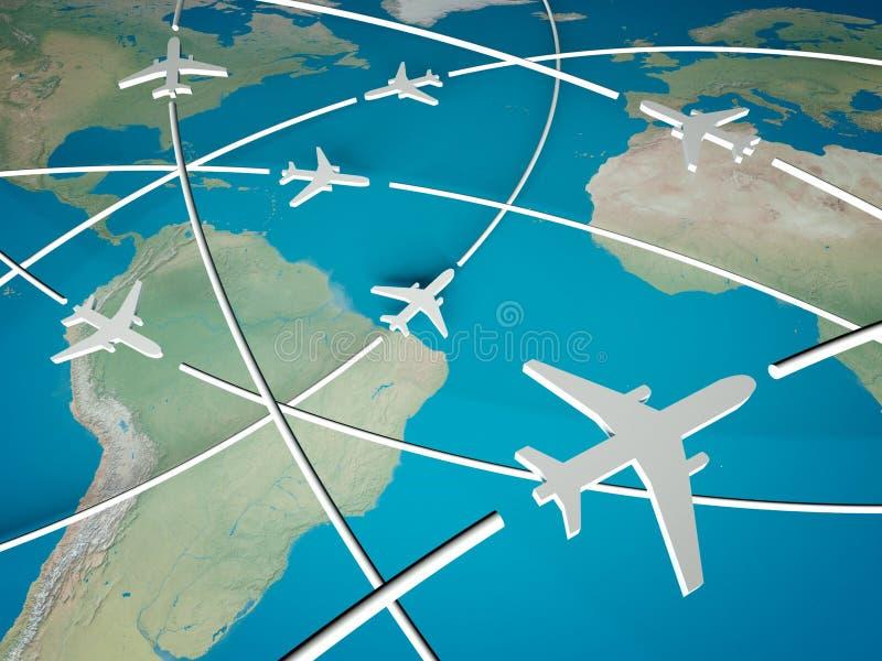 3d Routes van het Vliegtuig op wereldkaart stock illustratie