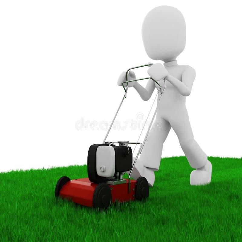 3d rozcięcia trawy gazonu mężczyzna mowe ilustracja wektor