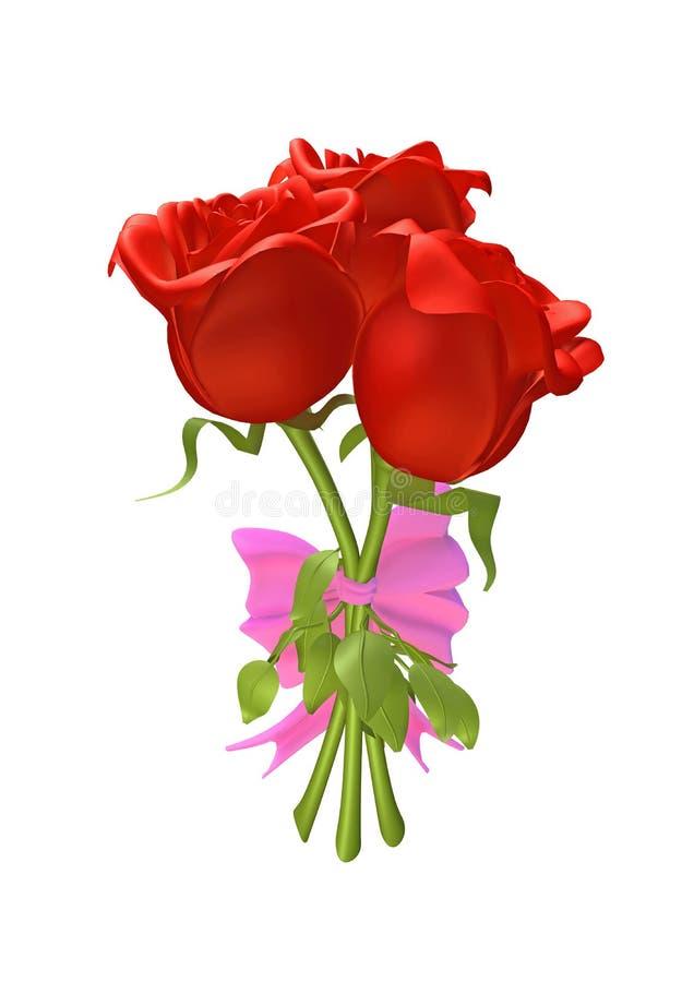 3D rozen die samen met een lint worden gebonden vector illustratie